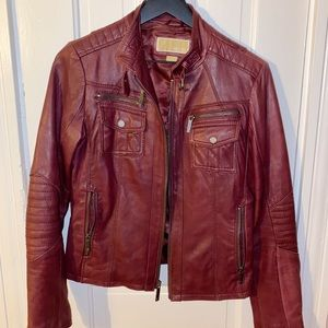 Michael Kors Burgundy Leather Motorcycle Jacket